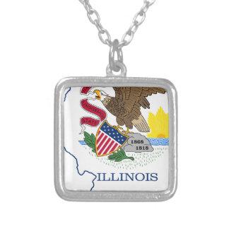 Colar Banhado A Prata Mapa da bandeira de Illinois