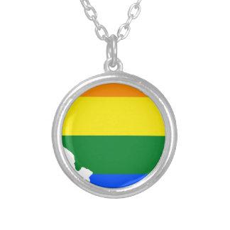 Colar Banhado A Prata Mapa da bandeira de Illinois LGBT