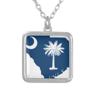 Colar Banhado A Prata Mapa da bandeira de South Carolina