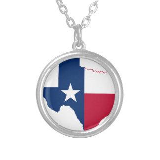 Colar Banhado A Prata Mapa da bandeira de Texas