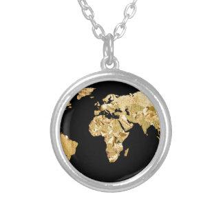 Colar Banhado A Prata Mapa da folha de ouro