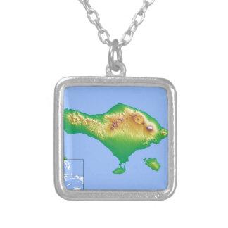 Colar Banhado A Prata Mapa de Bali