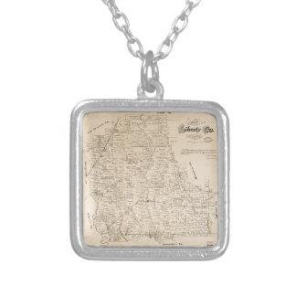 Colar Banhado A Prata Mapa do Condado de Liberty, Texas (1879)