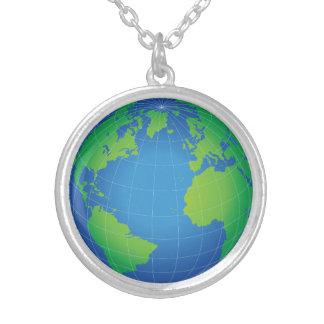 Colar Banhado A Prata Mapa do globo do mundo