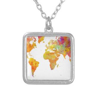 Colar Banhado A Prata mapa do mundo