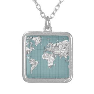Colar Banhado A Prata mapa do mundo 10