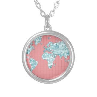 Colar Banhado A Prata mapa do mundo 7