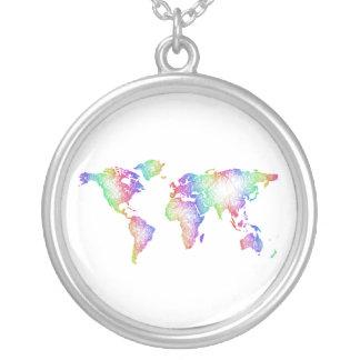 Colar Banhado A Prata Mapa do mundo do arco-íris