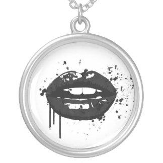Colar Banhado A Prata Maquilhador à moda do beijo da forma dos lábios