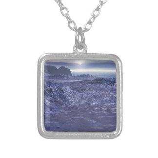 Colar Banhado A Prata Mar congelado de Netuno