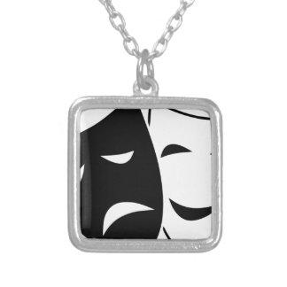 Colar Banhado A Prata Máscara da comédia e da tragédia