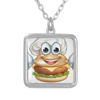 Colar Banhado A Prata Mascote do personagem de desenho animado da comida