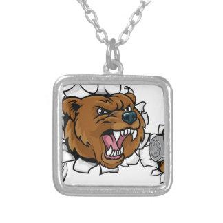 Colar Banhado A Prata Mascote irritada de Esports do urso