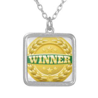 Colar Banhado A Prata Medalha da grinalda do louro do vencedor do ouro