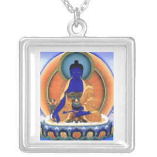 Colar Banhado A Prata Medicina Buddha