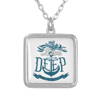 Colar Banhado A Prata Meu amor é profundo como o oceano