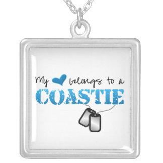 Colar Banhado A Prata Meu coração pertence a meu Coastie