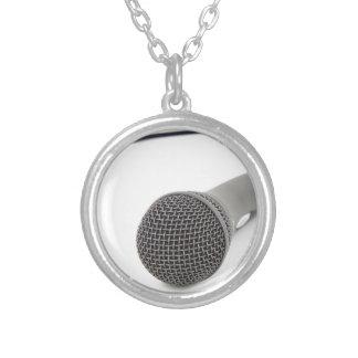 Colar Banhado A Prata Microfone do estúdio