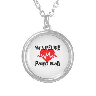 Colar Banhado A Prata Minha linha de vida bola da pintura ostenta o
