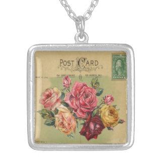 Colar Banhado A Prata Mini cartão: Buquê cor-de-rosa