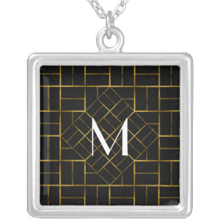 Colar Banhado A Prata Monograma geométrico elegante do teste padrão do