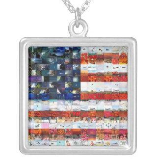 Colar Banhado A Prata Montagem da bandeira dos Estados Unidos