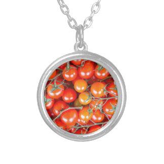 Colar Banhado A Prata Muitos grupos de tomates vermelhos da videira