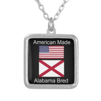 """Colar Banhado A Prata """"Nascer americano. Alabama produziu"""" bandeiras e"""