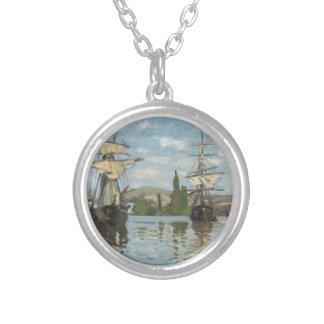 Colar Banhado A Prata Navios de Claude Monet que montam no Seine em