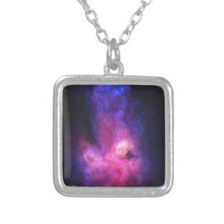 Colar Banhado A Prata Nebulla abstrato com a nuvem cósmica galáctica 27