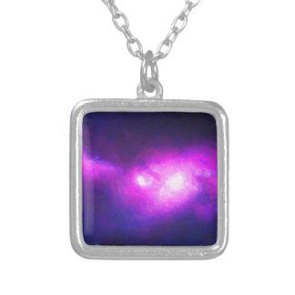 Colar Banhado A Prata Nebulla abstrato com a nuvem cósmica galáctica 28