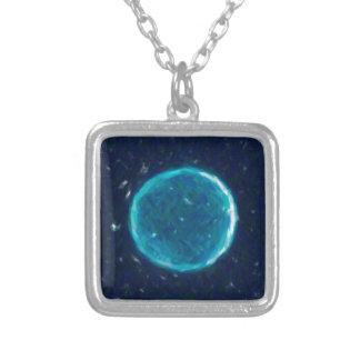 Colar Banhado A Prata Nebulla abstrato com o Cir cósmico galáctico da