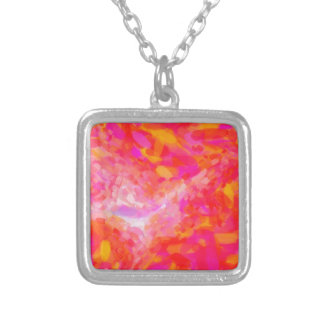 Colar Banhado A Prata Nebulla cor-de-rosa abstrato com a nuvem cósmica