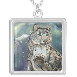 Colar Banhado A Prata Neve Leopard~necklace