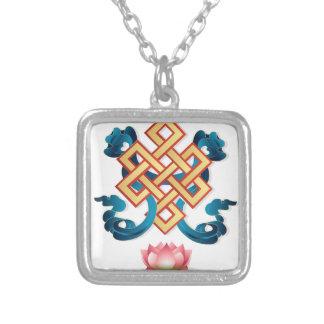 Colar Banhado A Prata Nó infinito do símbolo da religião do Mongolian
