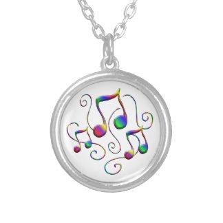 Colar Banhado A Prata Notas da música e redemoinhos coloridos do