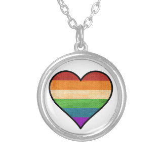 Colar Banhado A Prata O amor de LGBT é coração do arco-íris do amor