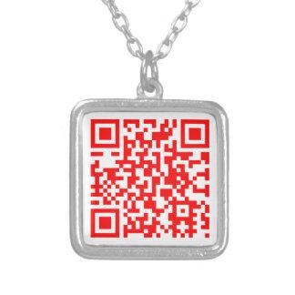 Colar Banhado A Prata O cartão de visita moderno do código de QR