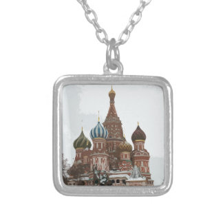 Colar Banhado A Prata O cathedral_russo da manjericão do santo