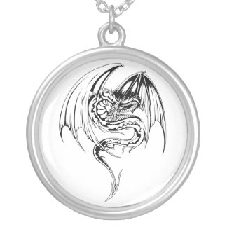 Colar Banhado A Prata O dragão do Wyvern é criaturas Mythical da