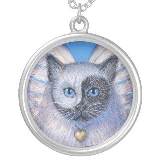 Colar Banhado A Prata O gato do zen com Yin-Yang surreal enfrenta a