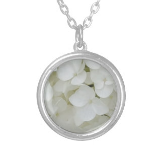 Colar Banhado A Prata O Hydrangea floresce a flor elegante branca floral