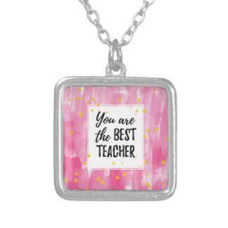 Colar Banhado A Prata O melhor professor - aguarela amarela cor-de-rosa