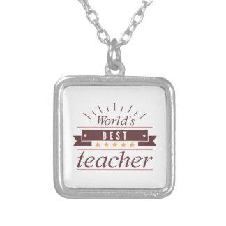 Colar Banhado A Prata O melhor professor do mundo