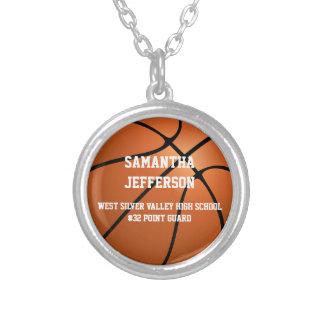Colar Banhado A Prata O número personalizado do nome do basquetebol