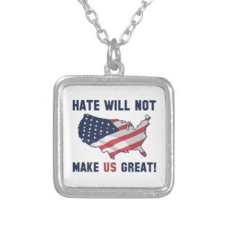 Colar Banhado A Prata O ódio não fará o excelente dos E.U.
