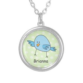 Colar Banhado A Prata O pássaro azul engraçado caçoa os desenhos