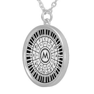 Colar Banhado A Prata O piano personalizado fecha o círculo dos quintos