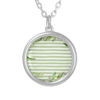 Colar Banhado A Prata O verde corajoso da arte da aguarela listra o