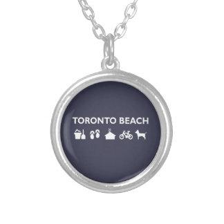 Colar Banhado A Prata Obscuridade monótonos dos ícones da praia de